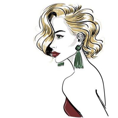 Papiers peints esquisse d'une femme blonde classique avec des vagues de cheveux