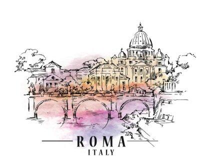 Papiers peints Esquisse des Roms. Illustration capitale italienne.