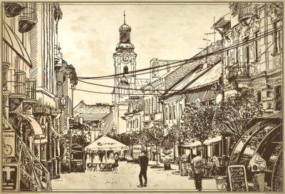 Papiers peints esquisse illustration vectorielle de Uzhgorod paysage urbain