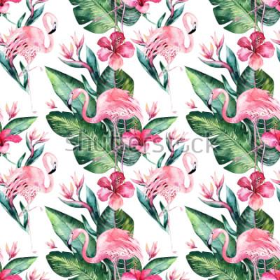 Papiers peints Été floral tropical sans soudure de fond avec des feuilles de palmier tropical, oiseau flamant rose, hibiscus exotique. Parfait pour les papiers peints, design textile, impression de tissu.