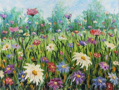 Papiers peints Été Les fleurs sauvages, peinture à l'huile