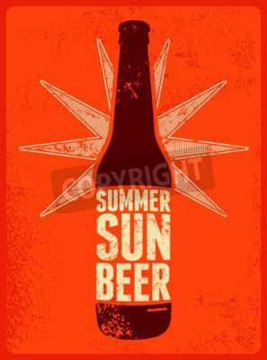 Papiers peints Été, Soleil, Bière. Affiche typographique de bière grunge rétro. Illustration vectorielle.