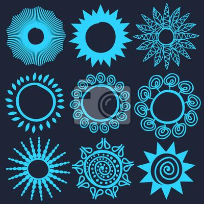 Ethnicité solaire symboles stylisés. Logos bleu clair comme éléments
