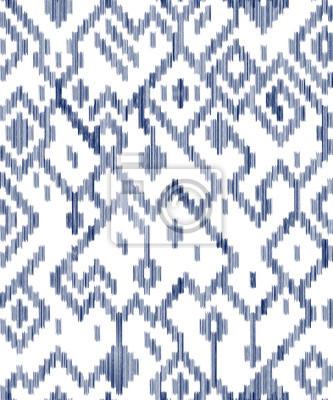 Ethnique Geometrique Ikat Geometrique Use En Bleu Et Blanc Vecteur