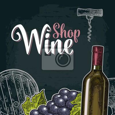 Papiers peints: Étiquette ou affiche de vin carré. lettre de wine shop.