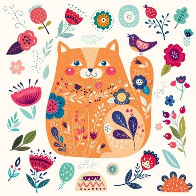 Papiers peints Étonnant chat jaune décoratif avec des éléments floraux