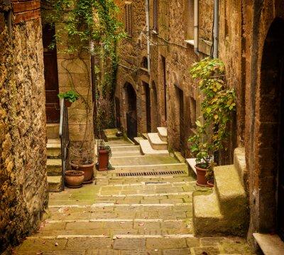Papiers peints Étroit, rue, médiéval, toff, ville, Pitigliano, vert, Usines, cobblestone, escalier ...