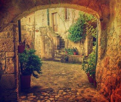 Papiers peints Étroit, rue, médiéval, toff, ville, sorano, voûte, vert, Usines, cobblestone, voyage ...