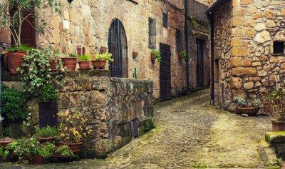 Papiers peints Étroit, rue, médiéval, tuff, ville, sorano, vert, Usines, cobblestone ...