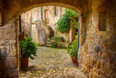 Papiers peints Étroit, rue, tuf, ville, Sorano, voûte, vert, Usines, pavé