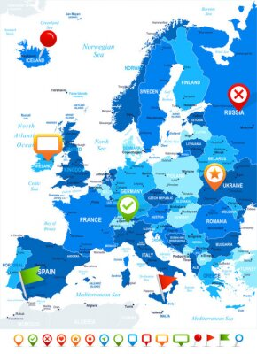 Papiers peints Europe - carte et de navigation icônes - illustration.Image contient prochaines couches: les contours de la terre, les noms de pays et de la terre, les noms de ville, les noms d'objets de l'eau, des i