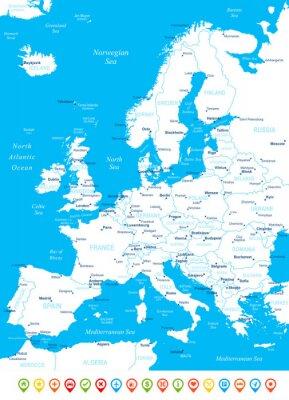 Papiers peints Europe - carte, icônes de navigation - illustration.Image contient prochaines couches: les contours de la terre, les noms de pays et de la terre, les noms de ville, les noms d'objets de l'eau, des icô
