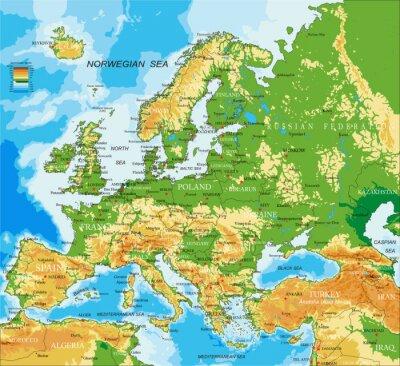 Papiers peints Europe - carte physique