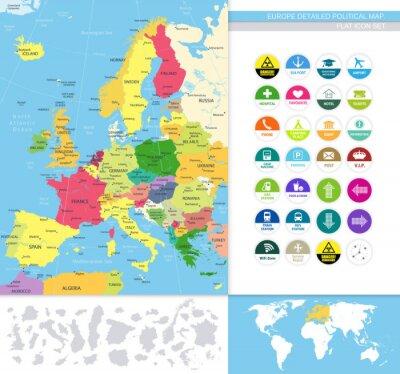Papiers peints Europe detailed political map.Flat icon set