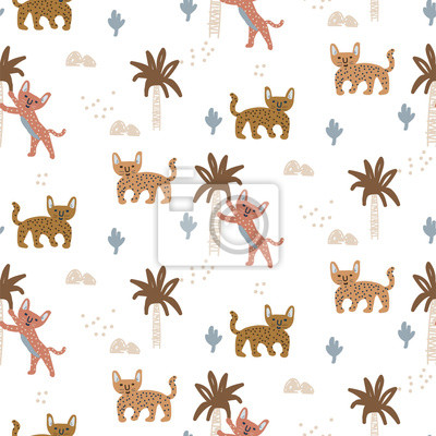 Exotic wild cat seamless pattern with abstract trees. Hand drawn cute design vector texture.