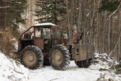 Papiers peints Exploitation forestière à l'aide des voitures de traction