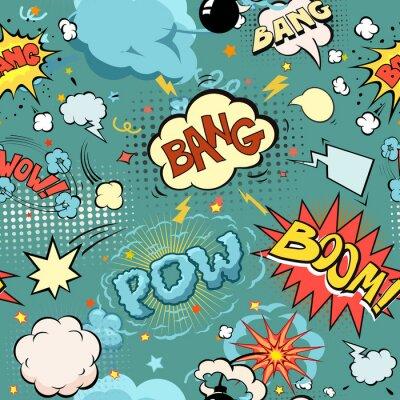 Papiers peints Explosion de bandes dessinées sans soudure, bombes et jeu de blast. Bulles pour la parole, différents sons et flèches.