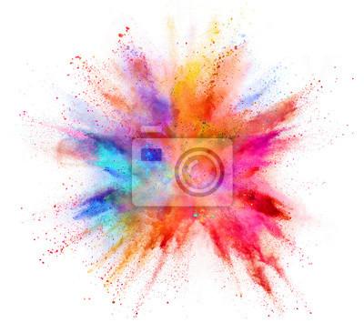 Papiers peints Explosion de poudre colorée isolée sur fond blanc