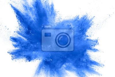 Papiers peints Explosion de poussière bleu abstrait sur fond blanc. Figer le mouvement des éclaboussures de poudre bleue. Holi peint en festival.