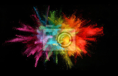 Papiers peints Explosion of colored powder isolated on black background