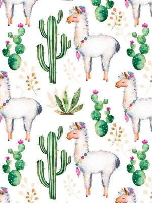 Papiers peints Exture avec des éléments d'aquarelle peints à la main de haute qualité pour votre design avec des plantes de cactus, des fleurs et lama.For votre création unique, papier peint, fond, blogs, modèle, in
