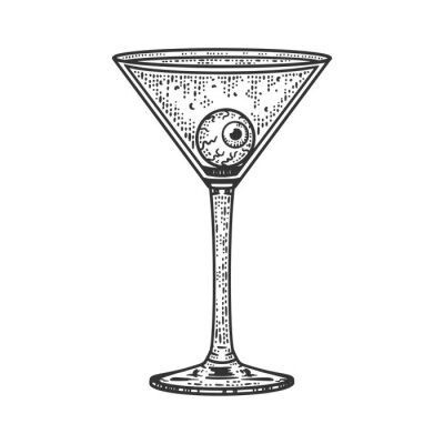 eye ball in a martini glass sketch engraving vector illustration. T-shirt apparel print design. Scratch board imitation. Black and white hand drawn image.