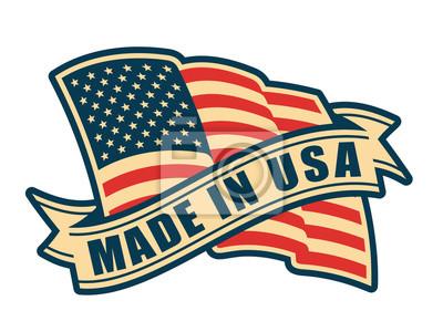 Papiers peints Fabriqué aux États-Unis (États-Unis d'Amérique). Composition avec le drapeau américain et le ruban dans le style vintage et les couleurs.