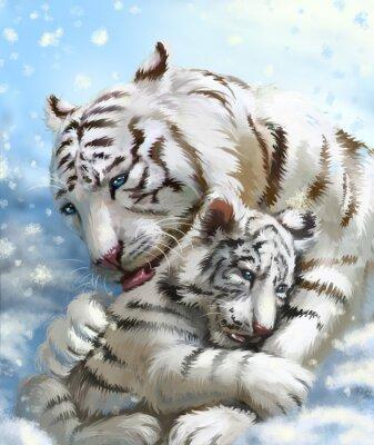 Papiers peints Famille de tigres