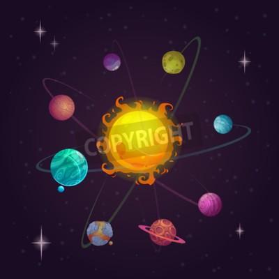 Papiers peints Fantaisie, solaire, système, alien, planètes, étoile, vecteur ...
