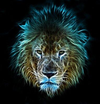 Papiers peints Fantasy art numérique de fractale d'un lion sur un fond isolé