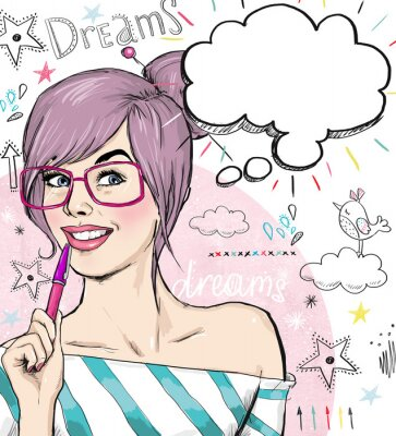 Papiers peints Fashion  girl with pen in the hand with speech bubble