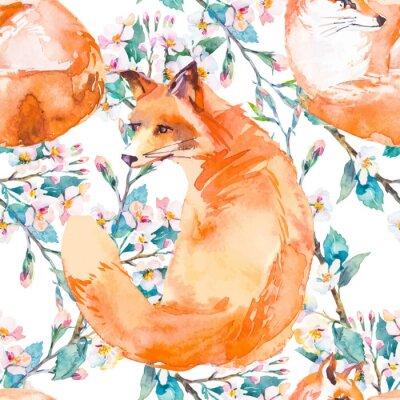 Papiers peints Faune sauvage. Renard et branches fleuries. Vecteur.