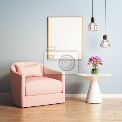 Papiers Peints Fauteuil Rouge De Saumon Dans Un Salon Moderne Contemporain