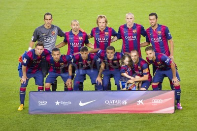 Papiers peints FCB players posing for photos at Gamper friendly match between FC Barcelona and Club Leon FC, final score 6-0, on August 18, 2014, in Camp Nou, Barcelona, Spain