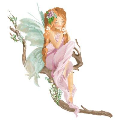 Papiers peints Fée d'huile peinte à la main belle assis sur une branche de bois ancienne avec bouquet floral, guirlande de fleurs isolé sur blanc