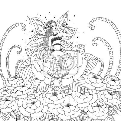 Coloriage Feerique Adulte.Fee Girl Jouer Papillon Fleur Conception Coloriage Livre