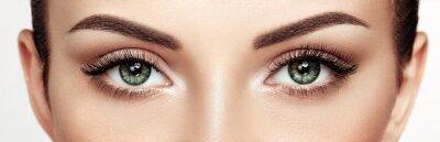 Papiers peints Female Eye with Extreme Long False Eyelashes. Eyelash Extensions. Makeup, Cosmetics, Beauty. Close up, Macro