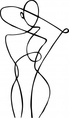 Papiers peints Female figure, drawn in one line