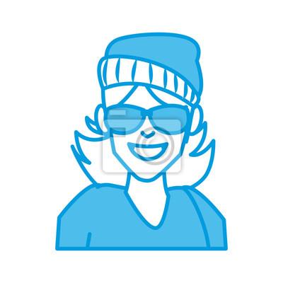 Dessin Lunettes De Soleil femme avec des lunettes de soleil dessin animé icône vector