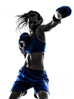 Papiers peints femme boxe thailandaise kickboxing silhouette isolé