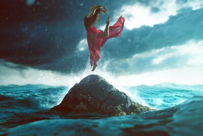 Papiers peints Femme, danse, rocher, mer