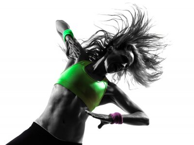 Papiers peints femme exerçant Zumba Fitness silhouette de danse