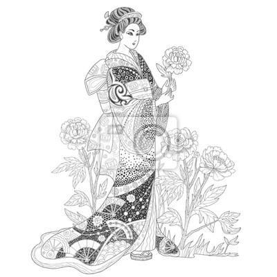 femme geisha japonaise dans un kimono avec des fleurs de pivoine papier peint papiers peints. Black Bedroom Furniture Sets. Home Design Ideas