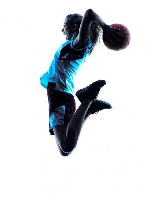 Papiers peints femme joueur de basket silhouette