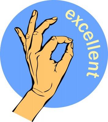 Femme, main, ok, signe Geste cercle bleu Icônes, concept d'entreprise.