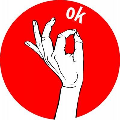 Femme, main, ok, signe Geste cercle rouge Icônes, concept d'entreprise.