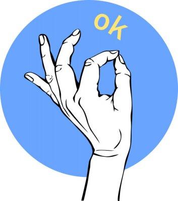 Femme, main, ok, signe Gesture Circle Icons, concept d'entreprise.