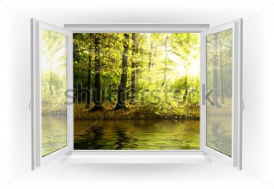 Papiers peints Fenêtre ouverte avec forêt sur un fond