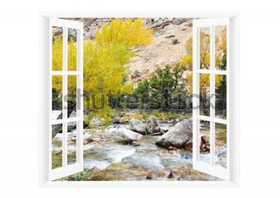 Papiers peints Fenêtre ouverte avec une belle nature sur un fond
