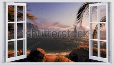 Papiers peints Fenêtre ouverte avec vue sur la mer
